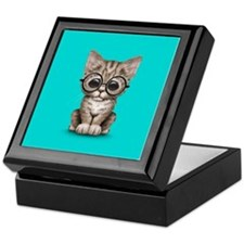 Cute Tabby Kitten with Eye Glasses on Blue Keepsak