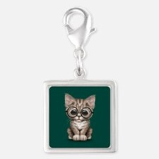Cute Tabby Kitten with Eye Glasses on Teal Blue Ch