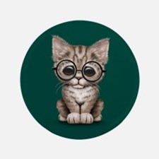 Cute Tabby Kitten with Eye Glasses on Teal Blue 3.