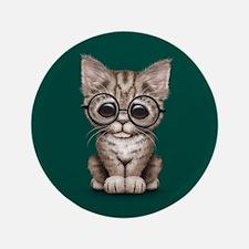 Cute Tabby Kitten with Eye Glasses on Teal Blue 3.