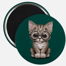 Cute Tabby Kitten with Eye Glasses on Teal Blue Ma
