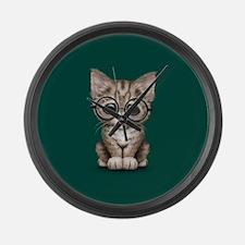 Cute Tabby Kitten with Eye Glasses on Teal Blue La