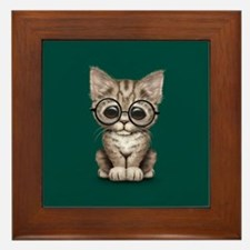 Cute Tabby Kitten with Eye Glasses on Teal Blue Fr