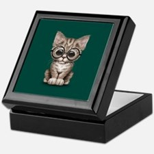 Cute Tabby Kitten with Eye Glasses on Teal Blue Ke