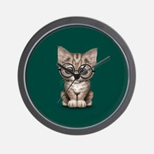 Cute Tabby Kitten with Eye Glasses on Teal Blue Wa