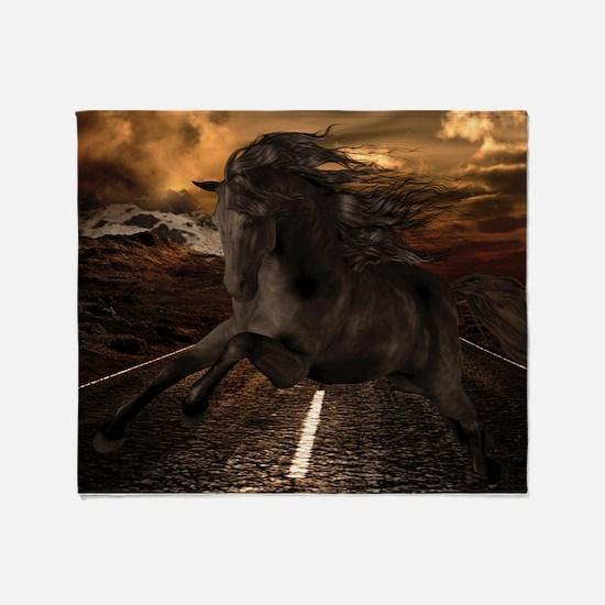 Black Stallion Throw Blanket