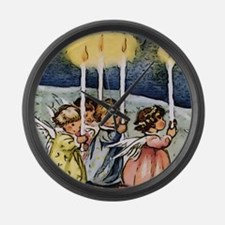 lovely christmas angels Large Wall Clock