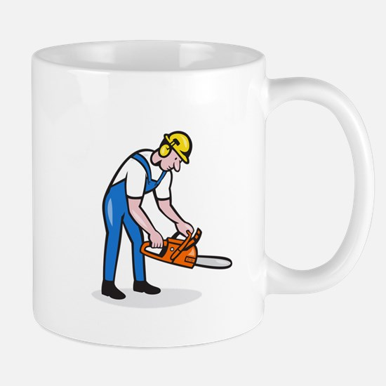 Lumberjack Arborist Operating Chainsaw Cartoon Mug
