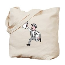 Newsboy Selling Newspaper Cartoon Tote Bag
