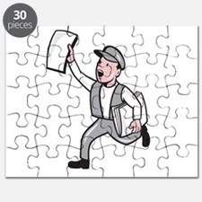 Newsboy Selling Newspaper Cartoon Puzzle
