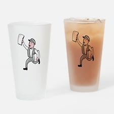Newsboy Selling Newspaper Cartoon Drinking Glass