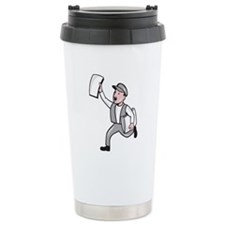 Newsboy Selling Newspaper Cartoon Travel Mug