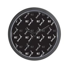 New Zealand map with NZ pattern Wall Clock