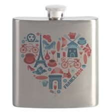 France World Cup 2014 Heart Flask