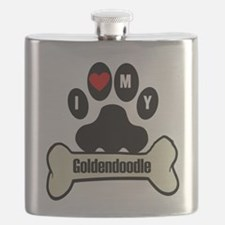 I Heart My Goldendoodle Flask