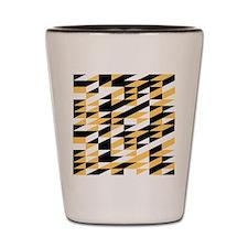 Mustard and black retro geometric Shot Glass