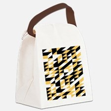 Mustard and black retro geometric Canvas Lunch Bag