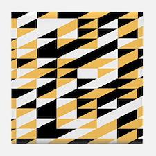 Mustard and black retro geometric Tile Coaster
