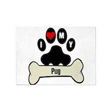 I Heart My Pug 5'x7'Area Rug