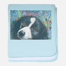 Forget me not Border Collie baby blanket