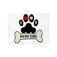 I Heart My Border Collie 5'x7'Area Rug