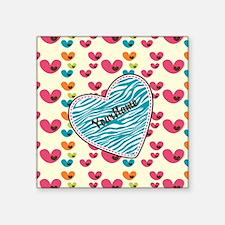 "Lollipop Candy Monogram Hea Square Sticker 3"" x 3"""