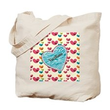 Lollipop Candy Monogram Hearts Tote Bag