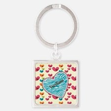 Lollipop Candy Monogram Hearts Keychains