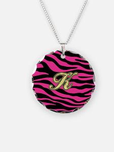 HOT PINK ZEBRA GOLD K Necklace
