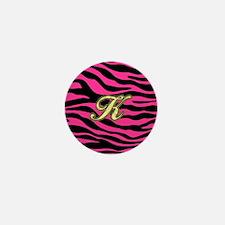 HOT PINK ZEBRA GOLD K Mini Button
