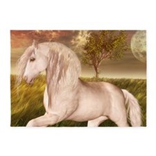 White Horse 5'x7'Area Rug