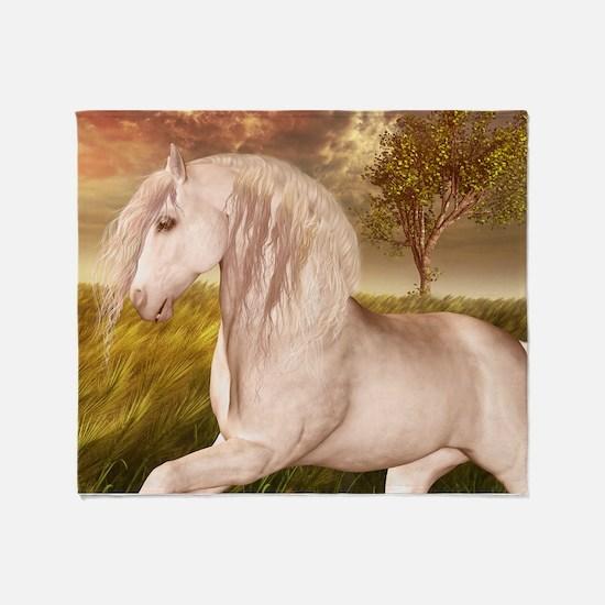 White Horse Throw Blanket