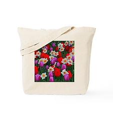 Purple tulips and white daffodils garden Tote Bag
