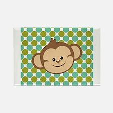 Monkey on Green Polka Dots Magnets