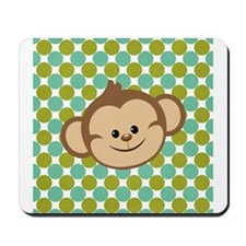 Monkey on Green Polka Dots Mousepad