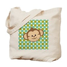 Monkey on Green Polka Dots Tote Bag