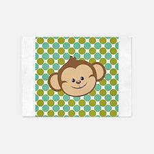 Monkey on Green Polka Dots 5'x7'Area Rug
