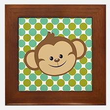 Monkey on Green Polka Dots Framed Tile