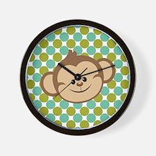 Monkey on Green Polka Dots Wall Clock