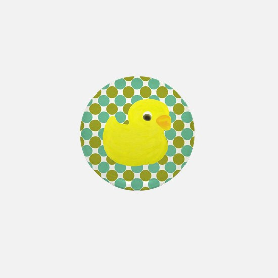 Rubber Duck on Green Polka Dots Mini Button