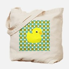 Rubber Duck on Green Polka Dots Tote Bag