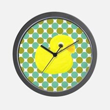 Rubber Duck on Green Polka Dots Wall Clock