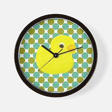 Rubber Duck on Green Polka Dots Wall Clock