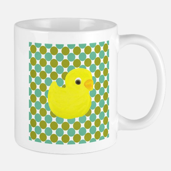 Rubber Duck on Green Polka Dots Mugs