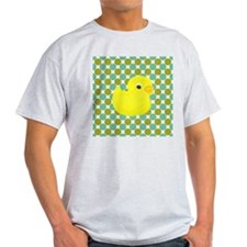 Rubber Duck on Green Polka Dots T-Shirt