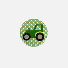 Tractor on Green and White Polka Dots Mini Button