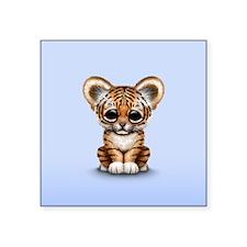 Cute Tiger Cub Baby on Blue Sticker