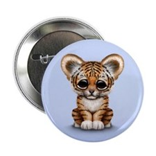 "Cute Tiger Cub Baby on Blue 2.25"" Button"