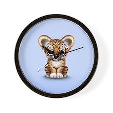 Cute Tiger Cub Baby on Blue Wall Clock