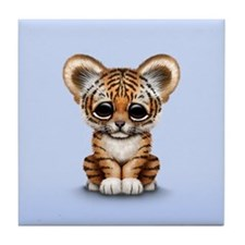 Cute Tiger Cub Baby on Blue Tile Coaster